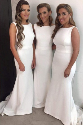 White Simple Mermaid Bridesmaid Dress New Arrival Sleeveless Sweep Train Prom Dress_2