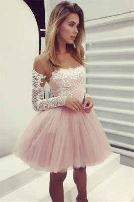 Glamorous A-Line Pink Hoco Dresses | Short Lace Long Sleeves Homecoming Dresses_2