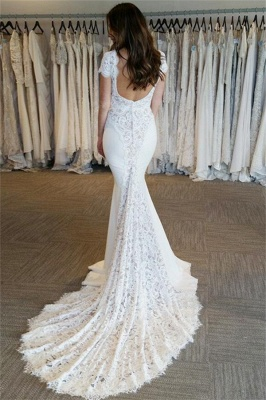 Sexy Mermaid V-Neck Wedding Dresses  Open Back Short Sleeves Bridal Gowns_3