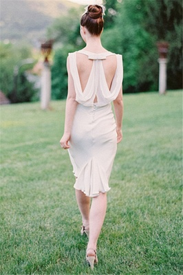 Vintage Wedding Short Bridesmaid Dresses  Chiffon Hollow Back Wedding Reception Dress_3