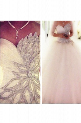 White Crystal Attractive  Bridal Dresses Sexy Luxurious Stunning Ball Gowns_2