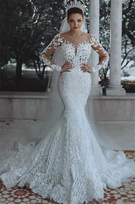 Luxury Beaded Lace Mermaid Wedding Dresses with Sleeves | Sheer Tulle Appliques Cheap Bride Dresses_2