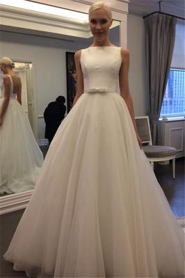Elegant Jewel Backless Wedding Dress  A-line Sleeveless Bridal Gowns_2