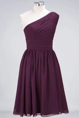A-line Chiffon One-Shoulder Summer Knee-Length Bridesmaid Dress UK with Ruffles_1