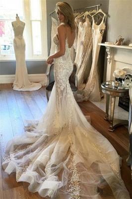 Charming Spaghetti-Strap Mermaid Wedding  Dress Lace Zipper Button Tulle Bridal Gowns_4