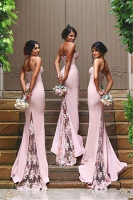 Sexy Sheath Spaghetti Straps Bridesmaid Dresses  Cheap Evening Dress with Lace Appliques_3