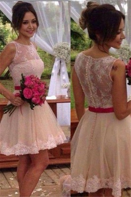 Mini Lace Bridesmaid Dress Elegant Short Homecoming Dress_2