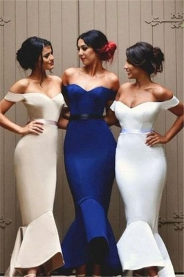 Ruffles Long Newest Off-the-shoulder Mermaid Lace-up Bridesmaid Dress BA4200_2