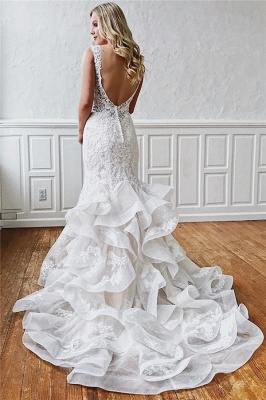 Chic Straps Ruffled Lace Mermaid Wedding Dresses | Bridal Gowns Online_2