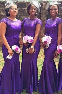 Mermaid Beadings Purple Bow Short Sleeves Popular Bridesmaid Dresses_2