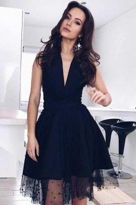 Black Tulle Deep-V-Neck Sleeveless Homecoming Dress_2