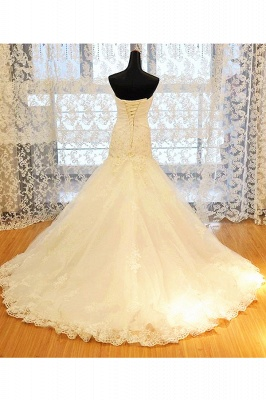 White Sweetheart Mermaid Wedding Dresses Applique Lace-Up Sexy  Bridal Gowns_4