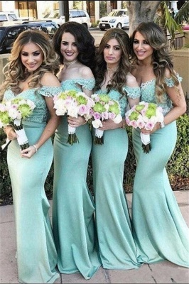 Lace Off The Shoulder Dress for Maid of Honor Mermaid Mint Long Bridesmaid Dress_2