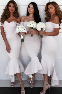 Simple Hi-Lo Mermaid Bridesmaid Dresses  | Off Shoudler Zipper Wedding Party Dress_2