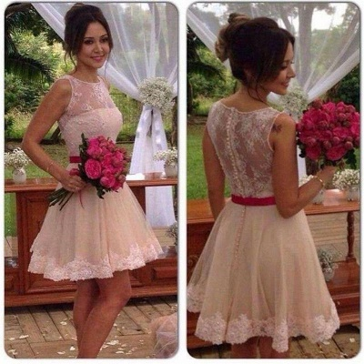 Mini Lace Bridesmaid Dress Elegant Short Homecoming Dress_3