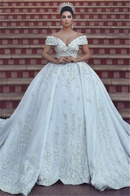 Princess Lace Appliques Wedding Dress with Beads| Off The Shoulder Ball Gown Bride Dress with Long Train_2