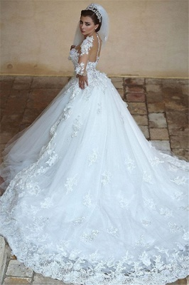 Beautiful White Tulle Ball Gown Wedding Dress Court Train Lace Plus Size Bridal Gowns_1