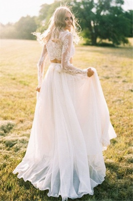Chiffon Long-Sleeves Lace Two-Piece A-line Elegant Wedding Dresses_3