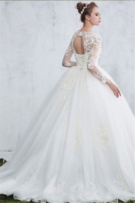 New Arrival Sexy Jewel White Long-Sleeve Ball Gown Lace Wedding Dresses_3