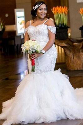 Mermaid Appliques Plus Size Bride Dress  Gorgeous Lace Cap-Sleeve Wedding Dress_4
