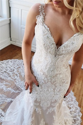 Vintage Straps Lace Crystal Mermaid Wedding Dresses Appliques Rhinestones Bridal Gowns On Sale