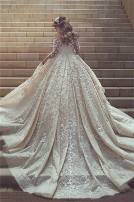 Gorgeous Crystal Appliques Wedding Dress  Tulle Long Sleeves Bridal Gowns_2