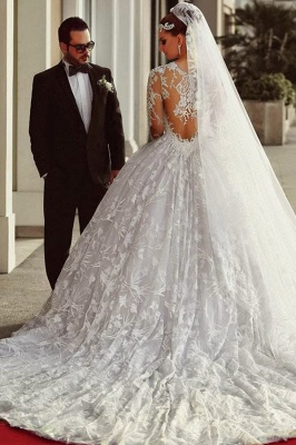 Court Train Lace Charming Wedding Dresses  Long Sleeve Bridal Ball Gowns_1