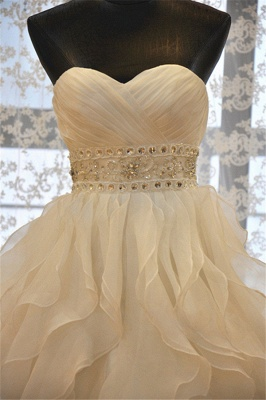 Elegant Sweetheart Ruffles A-line Wedding Dresses  Crystal Lace-up Bridal Gowns_3