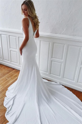 Alluring Jewel Mermaid White Chiffon Wedding Dresses Sleeveless V-Back Rhinestones Bridal Gowns On Sale_2