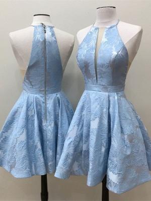 Deep-V-Neck Halter Appliques A-Line Sleeveless Homecoming Dress_4