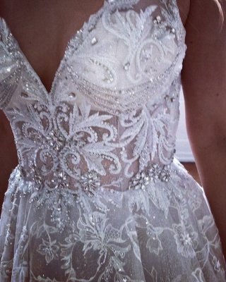 Glamorous A-line Spaghetti Straps V-Neck Lace Wedding Dresses | Bridal Gowns Online_2