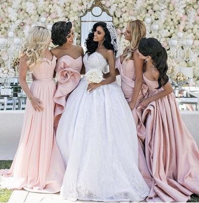 Pink Ruffles Mermaid Long Train  Bridesmaid Dresses_3