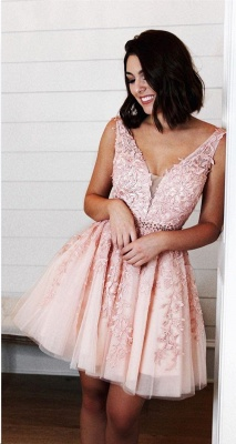 Chic Straps Beading Sash Homecoming Dress_4