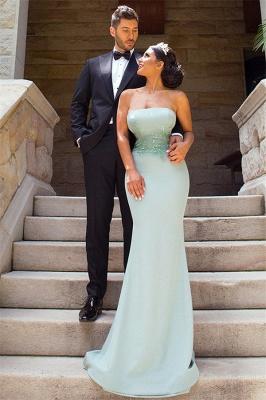 Elegant Applique Long Mermaid Strapless Bridesmaid Dress with Detachable Train_5