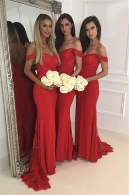 Red Lace Off The Shoulder Evening Dress  Long  Bridesmaid Dresses BA4787_2