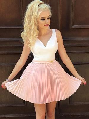 Straps V-Neck Ruffles Short Homecoming Dress_1