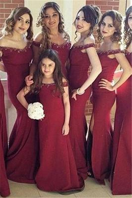 Crystal Side-Slit Simple Mermaid Off-the-Shoulder Bridesmaid Dress_2