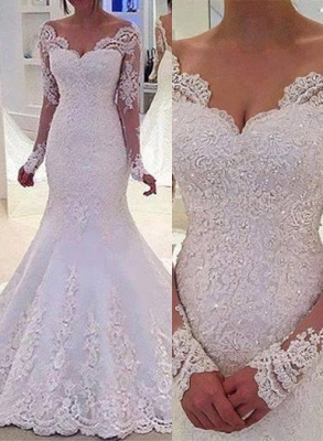 Elegant Off-the-Shoulder Long Sleeves Bridal Gowns Lace Mermaid Wedding Dresses  BA3742_2