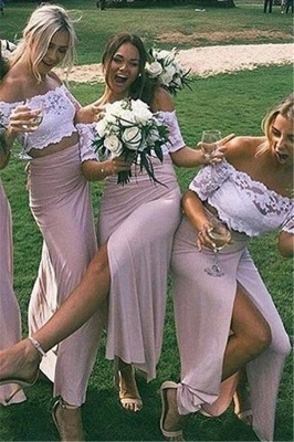 Two-Piece Short Side-Slit Chic Sleeves Pink Lace Bridesmaid Dresses_2