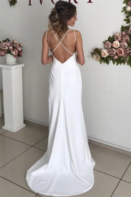 Sexy Spaghetti-Straps V-Neck White Wedding DressBackless Ruffles Bridal Gowns with Slit On Sale_2
