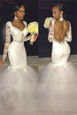 Sexy Backless Long-Sleeve Bridal Gowns  | Lace Mermaid Wedding Dress_2