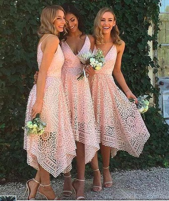 Sleeveless Newest Spaghetti Strap Tea Length Lace Bridesmaid Dress_3
