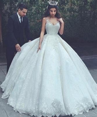 Sleeveless Appliques Popular Bride Dress  V-neck Lace Latest Ball Gown Wedding Dress_3