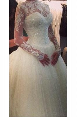 High Neck Long Sleeve Princess Wedding Dress Ball Gown Lace  Bridal Dress_3