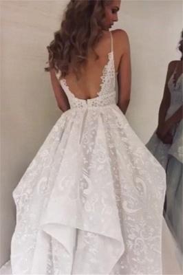 Glamorous Spaghetti-Straps Ruffle Appliques A-Line Wedding Dresses | Bridal Gowns Online_2