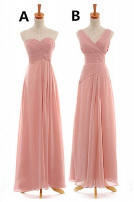Convertable Pink Long Bridesmaid Dress Popular Chiffon Side Silt Plus Size Dresses for Wedding_1