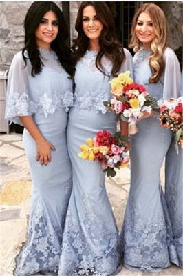 Special Mwemaid Lace Bridesmaid Dresses with Applique Satin Shawl Floor Length Wedding Dress BA7255_2