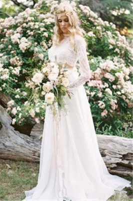 Chiffon Long-Sleeves Lace Two-Piece A-line Elegant Wedding Dresses_4
