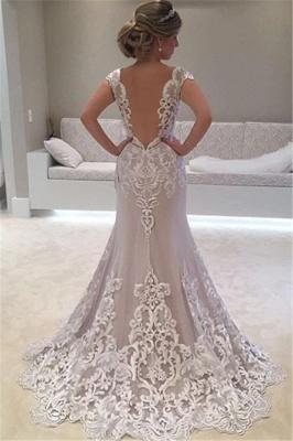 Elegant Lace Cap-sleeve Wedding Dress  | Mermaid Sweep-Train Bridal Gowns_3