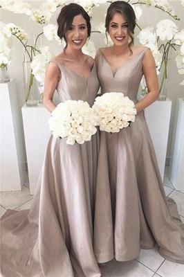 Sheer-Tulle V-neck Stretch-Satin Simple Open-Back Sleeveless Bridesmaid Dress_2